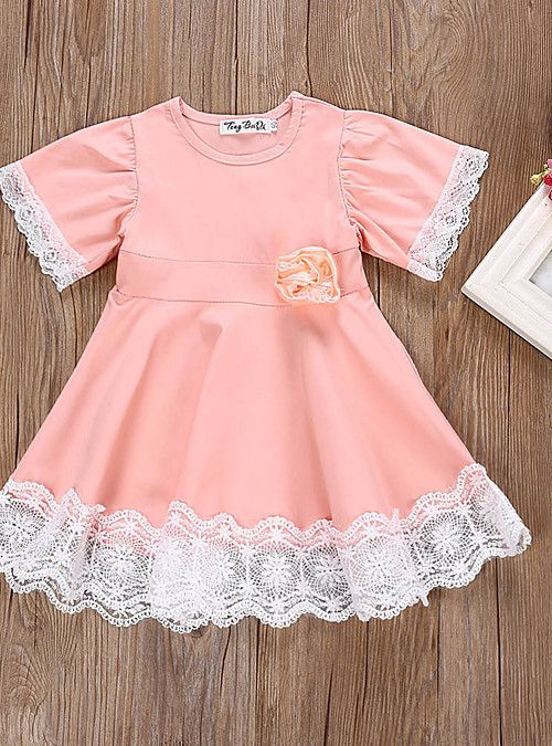 62367e8179d Baby Girls  Chinoiserie Daily   School Solid Colored Lace Short Sleeve  Knee-length Cotton