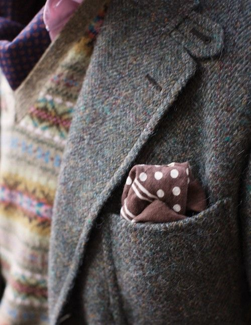Vintage tweed jackets, hand knitted Fair isle slip overs, soft cotton shirts and silk polka dot hankies- a perfect stylish and a quintessential English ensemble.