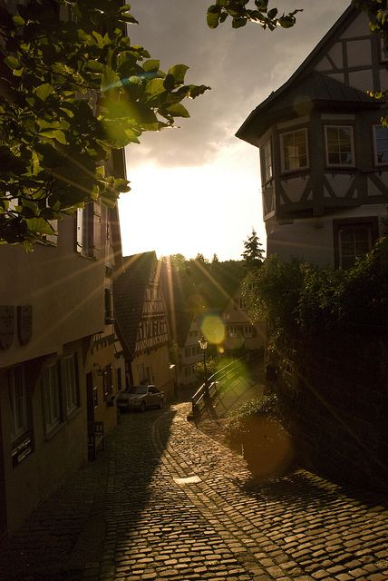 Last rays of sun on the streets of Altensteig, Germany (by...