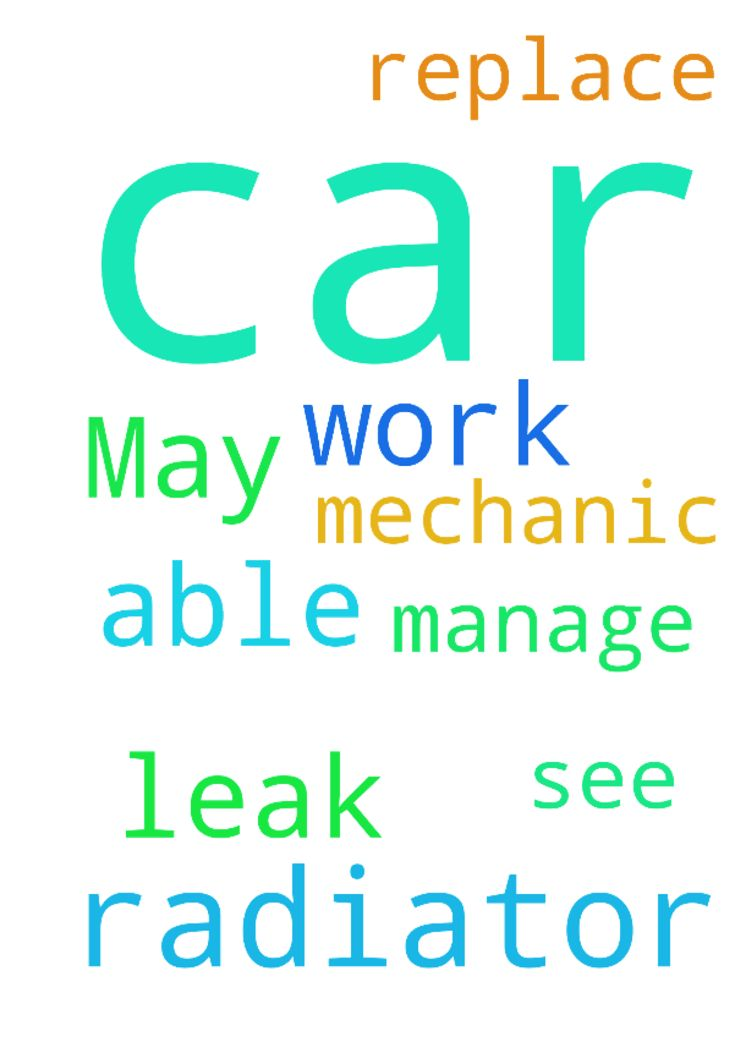 My car has a radiator leak. May my car be able to work - My car has a radiator leak. May my car be able to work until I manage to see the mechanic to replace the radiator. Posted at: https://prayerrequest.com/t/EM6 #pray #prayer #request #prayerrequest