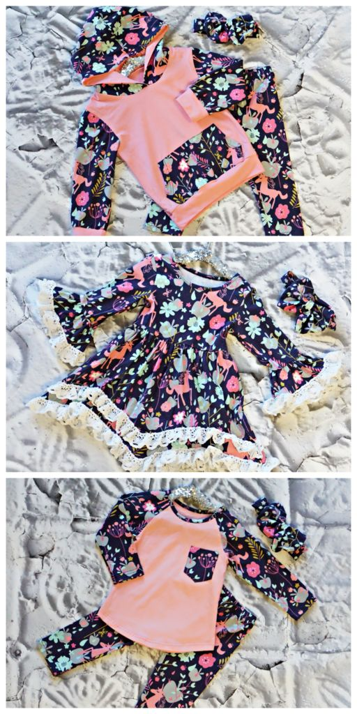 Up to 72% off retail!We love, love, love our Unicorn Forest collection, featuring a ruffle dress, raglan tee set and hoodie set in a dreamy unicorn pattern. If you're looking for a holiday gift, this is it! What unicorn loving little lady wouldn't love any or all of these outfits?!?! This listing is for our raglan teeset. It features a raglan style top with pocket accent and matching unicorn forest leggings.Complete the look by adding on thematching headbandfor just $5.00!…