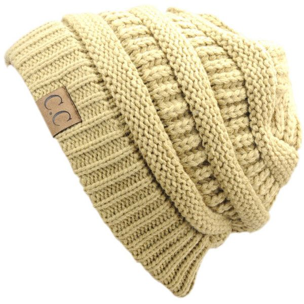 Women's C.C Unisex Trendy Chunky Soft Stretch Cable Knit Beanie... (18 PEN) ❤ liked on Polyvore featuring tops, camel, stretch top, colorful tops, stretchy tops, camel top and beige top