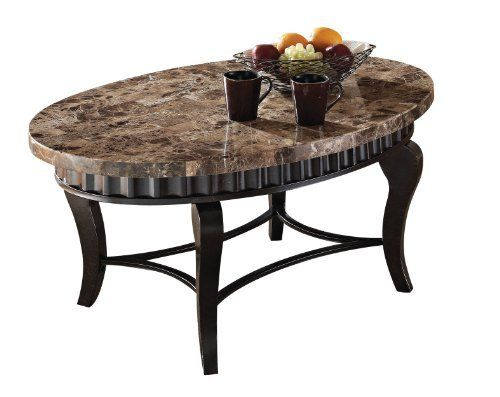 Acme 80068 Galiana Marble Top Coffee Table Brown By ACME 31107 Made Of