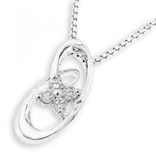 18K White Gold Infinity Cross Four Stones Pendant (FREE 925 Silver Box Chain)