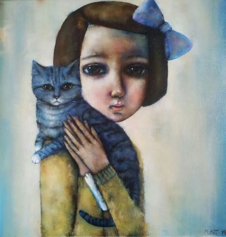 Girl with Russian Blue by Suzy Platt available at Art Box