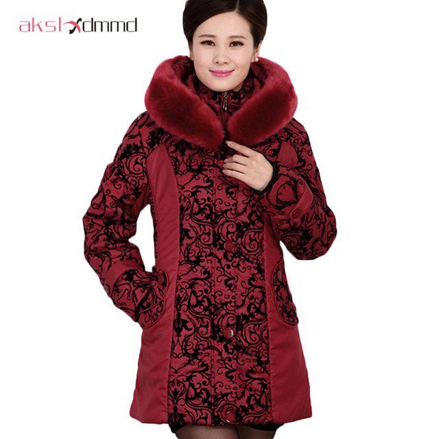 Middle-aged winter jacket women Thicken Warm Cotton-padded Slim Plus Size Fur Collar winter Coat Women Parka DX360