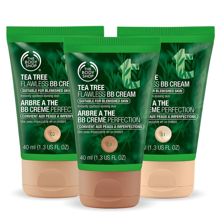 TEA TREE FLAWLESS BB CREAM $18.00 Perfect your complexion and fight the look of blemishes with our Tea Tree Flawless BB Cream. This dual action cream gives you flawless coverage whilst tackling the appearance of blemishes. Formulated with purifying Community Fair Trade organic tea tree oil from Kenya. Blemishes and imperfections are instantly covered Lightweight formula gives shine-free complexion 3 shades blend seamlessly into all skin tones for natural-looking coverage