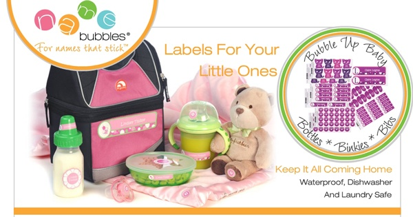 Name Bubbles Waterproof Daycare Labels