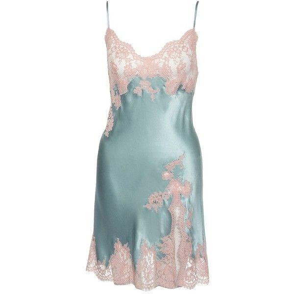 Marjolaine Divine Chemise (160 AUD) ❤ liked on Polyvore featuring intimates, chemises, lingerie, pajamas, dresses, underwear, chemise, lingerie chemise, silk slips and chemise lingerie
