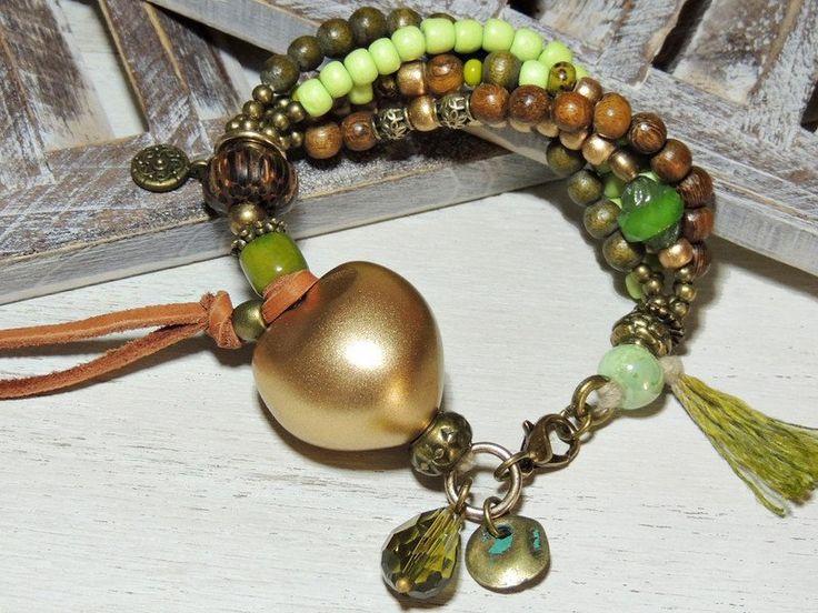 Bettelarmbänder - Bettelarmband - KUKUI NUSS - GOLD - - ein Designerstück von Kunterbuntes-Perlenspiel bei DaWanda