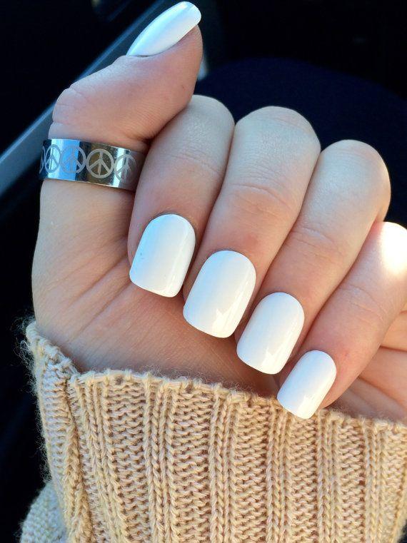 White nails fake nails white acrylic nails false by nailsbykate