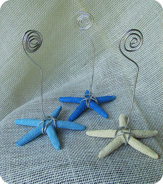 Starfish Number Holder, Nautical Table Number Holder,Set of 3, Wedding Table Number holders,Beach Table Number holders