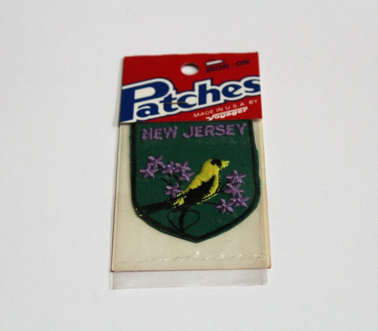 New Jersey Vintage Voyager State Bird American Goldfinch Iron-On Travel Patch NOS by VintageDorks on Etsy https://www.etsy.com/ca/listing/494867763/new-jersey-vintage-voyager-state-bird