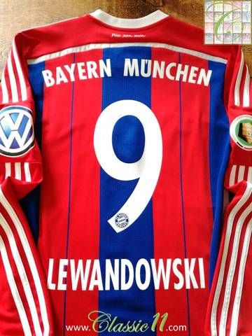 Official Adidas Bayern Munich home long sleeve football shirt from the 2014/15 season. Complete with Lewandowski #9 on the back of the shirt and DFB-Pokal (German domestic cup) patch on the sleeve.