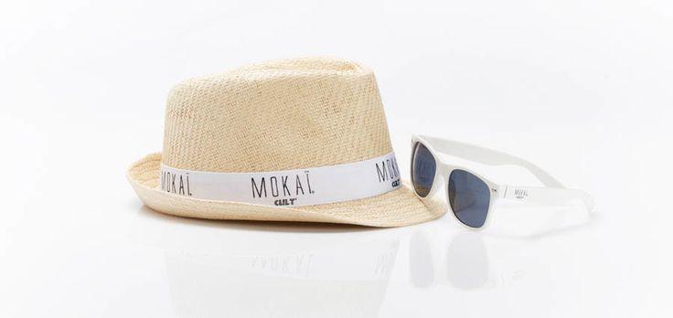 MOKAI CULT merchandise, Strøhat med logo, solbriller med logo,