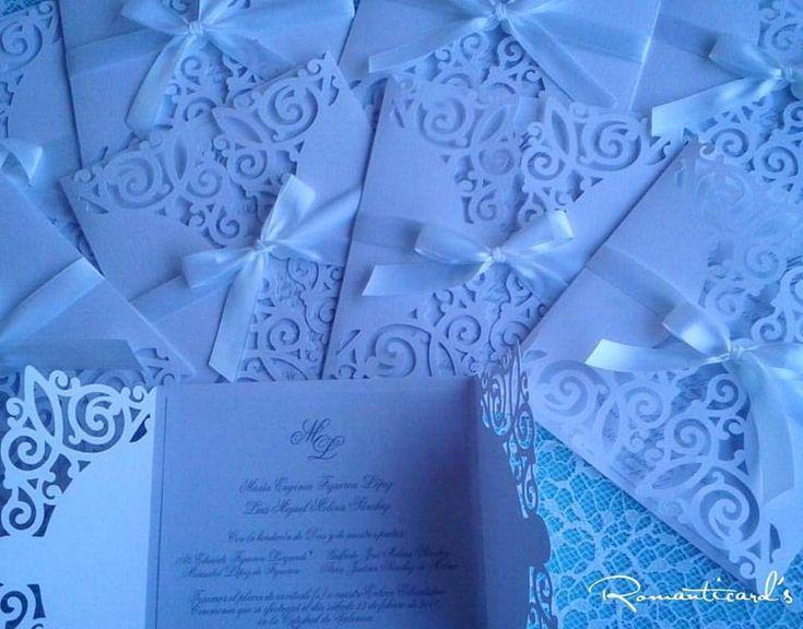 Partecipazione di matrimonio con taglio arabescato by Romanticards, by Romanticards e Little Rose Handmade, 1,90 € su misshobby.com