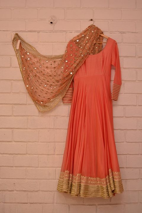 Coral peach light anarkali