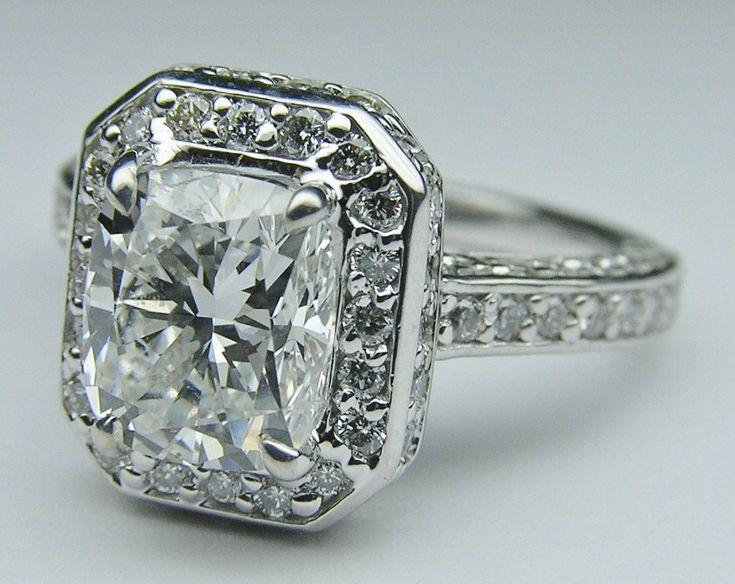 Engagement Ring - Cushion Diamond Double Halo Engagement Ring