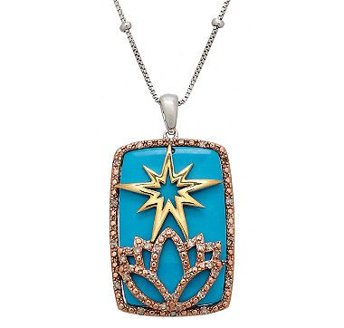 A stellar design and colour palette makes this sterling silver and gold plate turquoise and diamond pendant with chain from the Eva LaRue Collection simply irresistible.