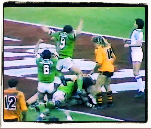GREATEST CANBERRA RAIDERS MOMENTS: 12. John Ferguson Grand Final try, 1989 One minute and 31 seconds left on the clock in regular time and the Raiders trail the Tigers 14-8. Chris O'Sullivan signals for the bomb at dummy half, and he hoists it high. Laurie Daley bats the ball back to Ferguson, who typically steps his way through the Balmain defence, scoring close to the posts. Mal Meninga's conversion sends the match into extra time, for the most dramatic end to any Grand Final.
