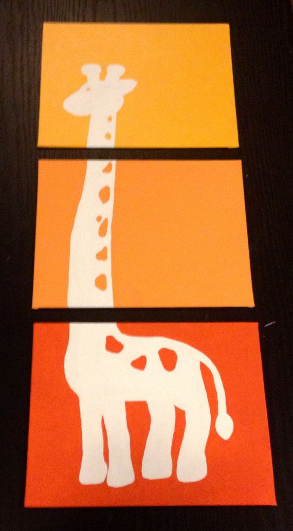 Three piece giraffe painting by ApricotInc on Etsy, $20.00