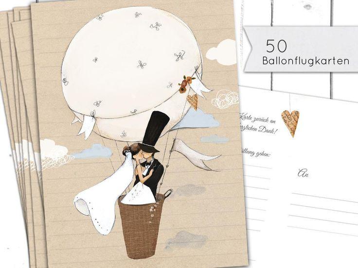 50 Ballonflugkarten  Ballonkarten (Hochzeitsspiel) von Pipapier auf DaWanda.com