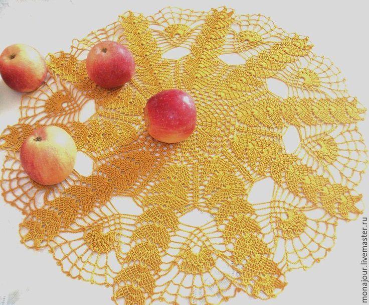 """Купить Салфетка """"Пшеничка"""" - золотой, салфетка, Салфетка вязаная, салфетка ажурная, салфетка декоративная"""