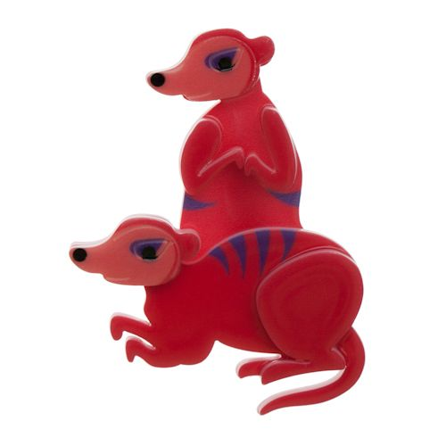 """Limited Edition Mimi & Moses Meerkat Brooch in red. """"Life is terrific when there's two."""""""