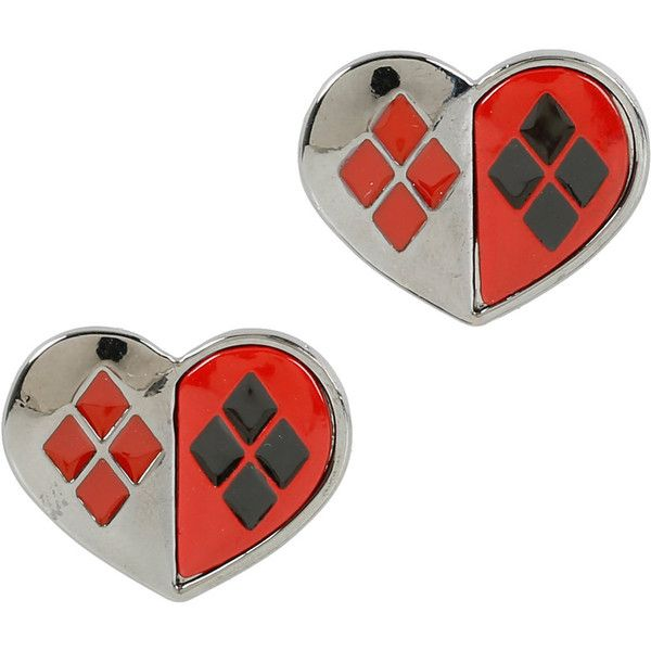 DC Comics Harley Quinn Heart Stud Earrings ($5.20) ❤ liked on Polyvore featuring jewelry, earrings, hematite earrings, red earrings, red heart earrings, heart shaped stud earrings and red jewelry