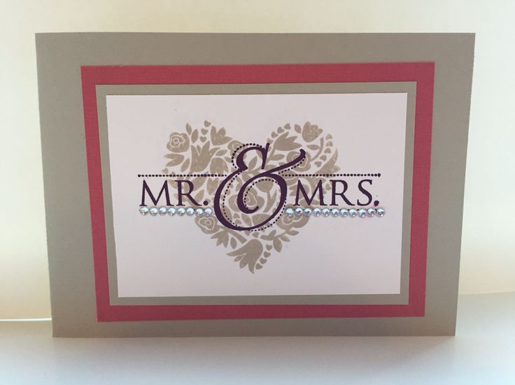 Wedding card using Stampin Up flowerful hearts and 'Mr & Mrs' stamps