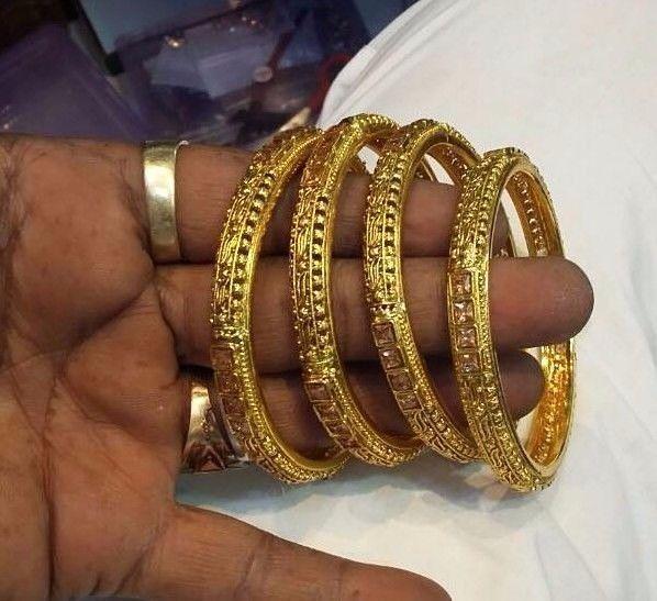 Indian Bangles Bracelet Set Goldtone Party Wear AD CZ Women Jewelry 4 Pc 2.6/8 #Handmade #Bangle