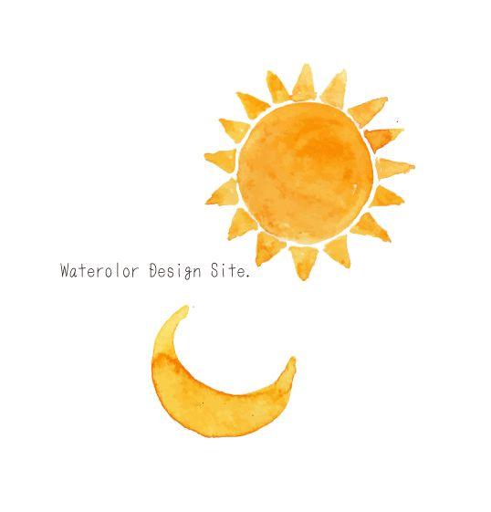 絵本にありそうな月と太陽のイラスト。 メッセージカードなどに。  AIベクター素材 PNG透過素材…