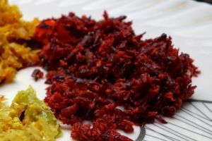 Beetroot thoran - authentic Indian recipe from a village in India (source: my personnal food and travel blog / vlog with recipes, authentic video recipes, street food, food and travel documentary, travel info and more. Welcome! :) )