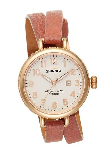 Shinola 'The Birdy' Double Wrap Leather Strap Watch, 34mm available at #Nordstrom // for graduation? maybe too expensive but SO AWESOME