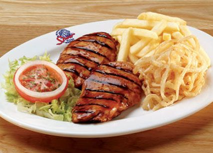 Grilled BBQ Chicken Breasts. Your choice of Spur Basting or peri-peri sauce at Spur Steak Ranches | http://www.spur.co.za/menu/chicken-schnitzel-seafood
