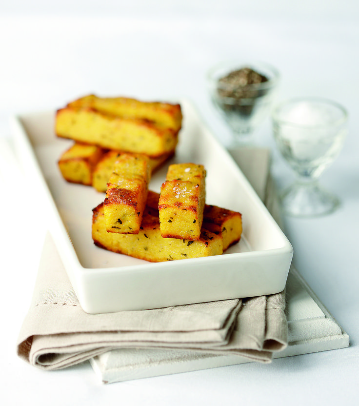 I Quit Sugar - Basil & Parmesan Polenta Chips with rosemary would be yummier