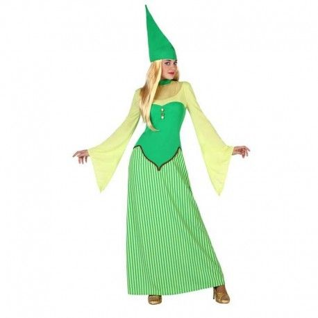 Disfraces Disney mujer | Disfraz de duendecilla largo. Contiene vestido largo con corpiño y gorro. Talla M. 18,95€ #duendecilla #duende #disfraz #disney #disfraces #disfrazdisney