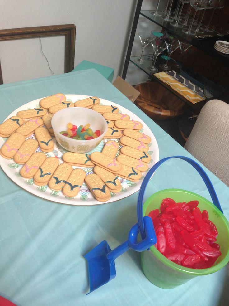 Adult pool party flip flop cookies