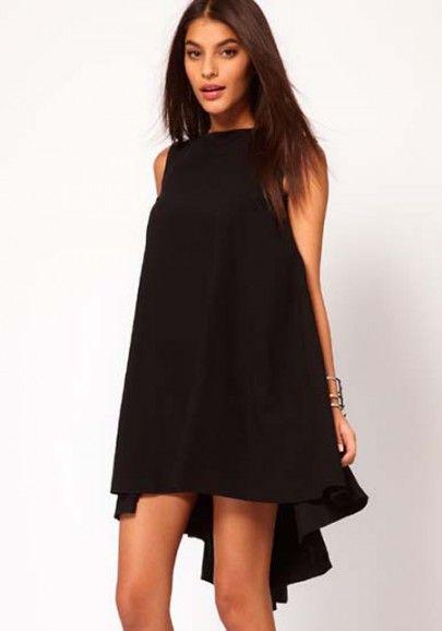 Black Irregular Sleeveless Above Knee Chiffon Dress