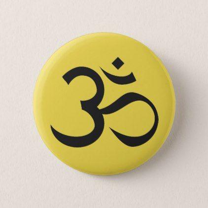 Ohm Symbol on Yellow Background Button - accessories accessory gift idea stylish unique custom