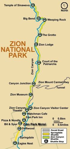 Zion National Park Itinerary | Map of Zion National Park Shuttle Bus Stops