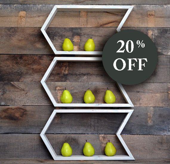 20% OFF SALE Wall Shelf - Geometric Arrow Shelf - Wall Shelf - Floating