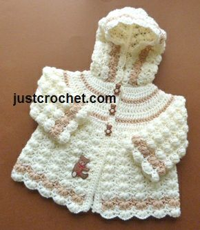 Free PDF baby crochet pattern for hooded jacket http://www.justcrochet.com/girls-hooded-jacket-usa.html #justcrochet
