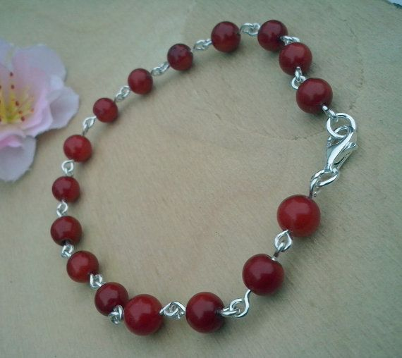 Handmade Bracelet  with Coral and sterling silver by TommyDark