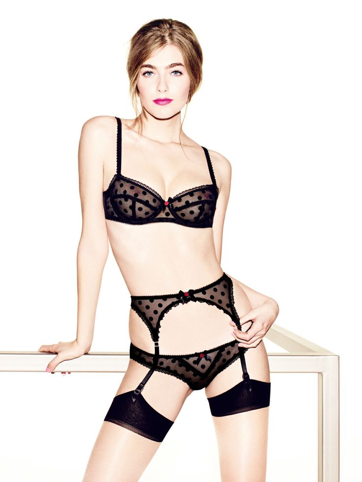 Rosalyn in black, made from stretch mesh with flocked tulle polka dots, is classically pretty but oh so sexy at the same time