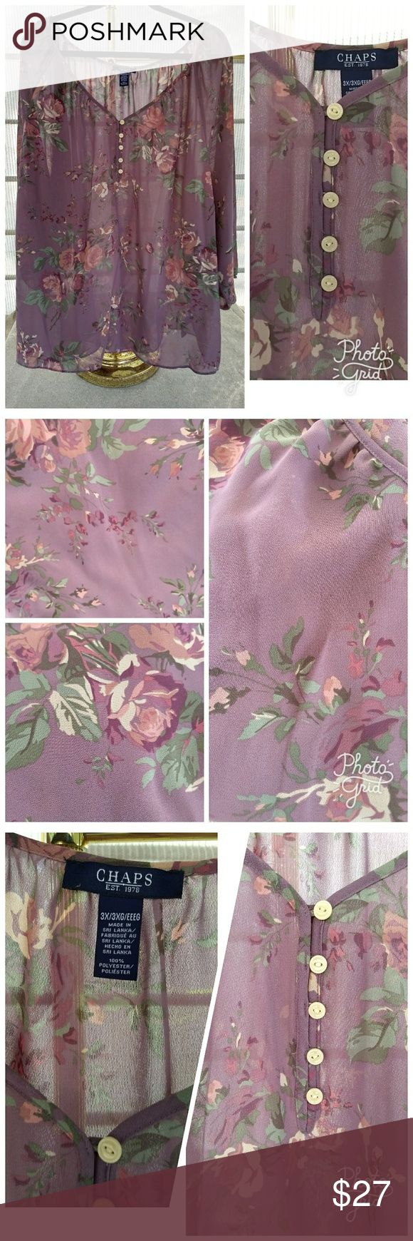"Chaps Ralph Lauren 3X Boho Semi Sheer Top Chaps Dusty Rose/Plum semi-sheer floral 3x long sleeve blouse. Flowing easy-to-wear, easy-to-care top. Elastic at wrists. Approx 58"" at bust. Worn once, in excellent used condition. Chaps Tops Blouses"