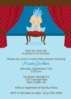 Little Prince Baby Shower Invites For Boys