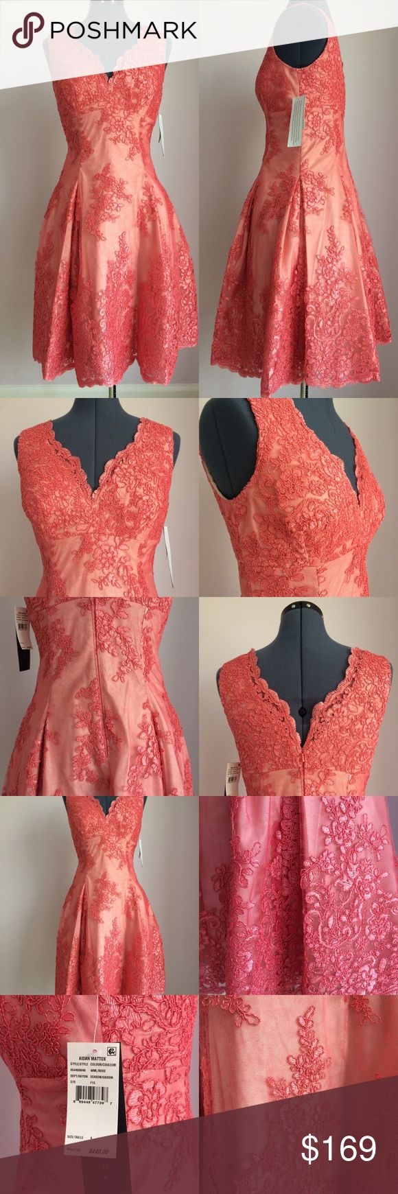 AIDAN MATTOX Tulle Embroidered Floral Dress Size 4 AIDAN MATTOX Tulle Embroidered Floral Dress Size 4. Color: Coral Aidan Mattox Dresses