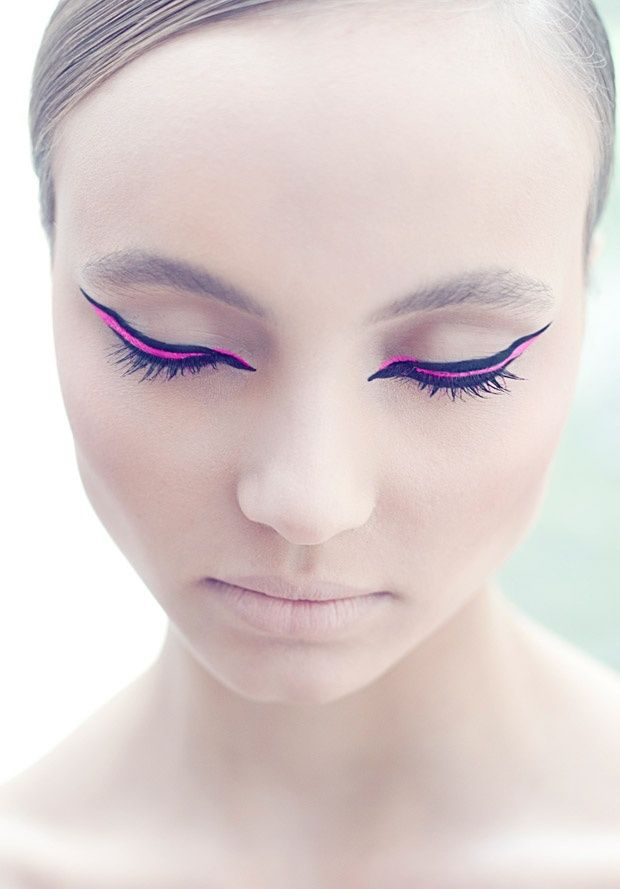 neon pink and black eye makeup