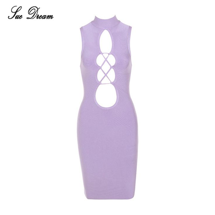 2High Quality women Sexy hollow out Lace up O Neck Purple Bandage Dress 2017 summer Lady Charming Bodycon Bandage Dress dropship #Affiliate